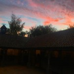 The courtyard stables at sunset